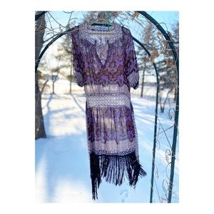BOHO Tunic Dress Fringe Sheer Mix Print